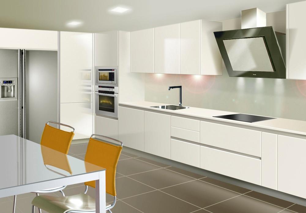 Atlantico blanco brillo tirador gola fergom for Diseno de interiores cocinas